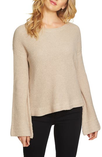1state female womens 1state bell sleeve sweater size medium beige