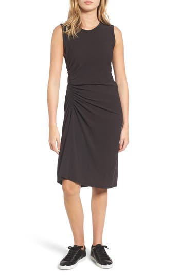 James Perse Spiral Shirred Sheath Dress, Black