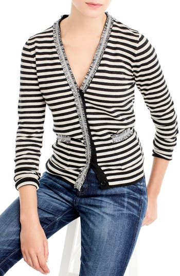 Women's J.crew Stripe Harlow Cardigan Sweater, Size XX-Small - Coral