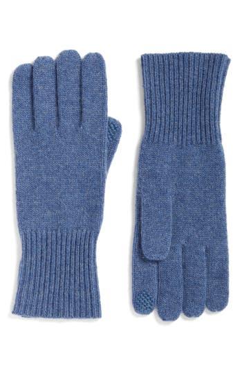 Women's Halogen Rib Knit Cashmere Gloves, Size One Size - Blue
