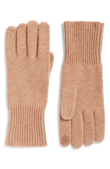 Women's Halogen Rib Knit Cashmere Gloves, Size One Size - Brown