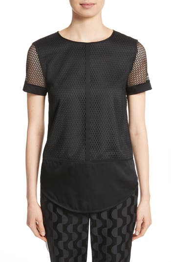 St. John Collection Circular Net Top, Size Petite - Black