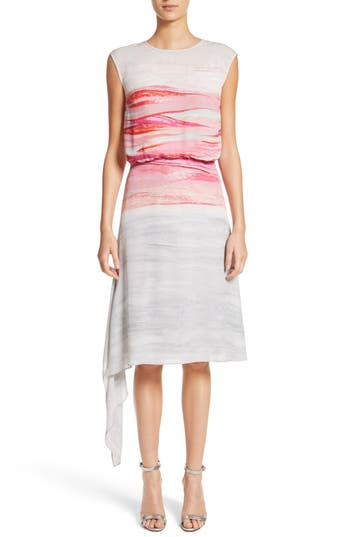 St. John Collection Textured Brushstroke Print Silk Satin Dress, Pink