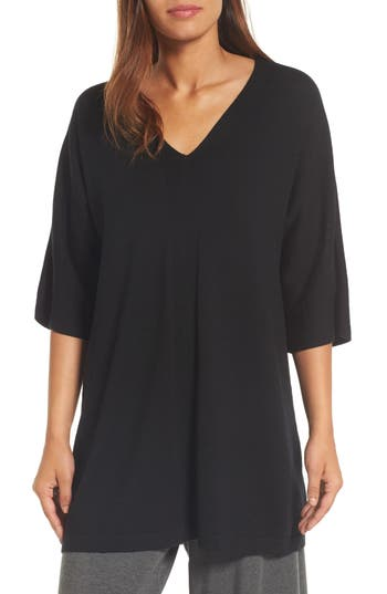 Eileen Fisher Merino Wool Tunic Sweater, Black