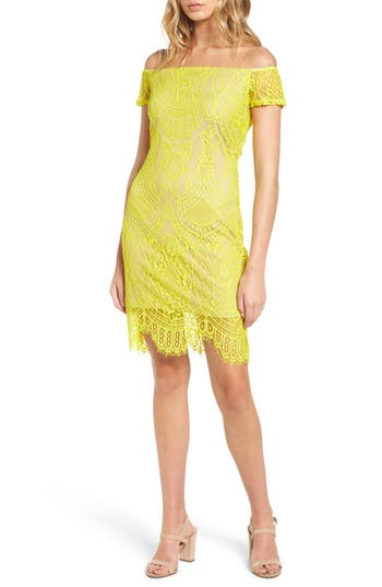Love, Fire Lace Off The Shoulder Dress, Yellow