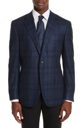 Canali Classic Fit Plaid Wool Sport Coat, 0 US / 5 R - Blue