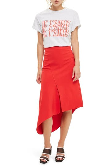 Topshop Split Asymmetric Jersey Midi Skirt, US (fits like 0) - Red