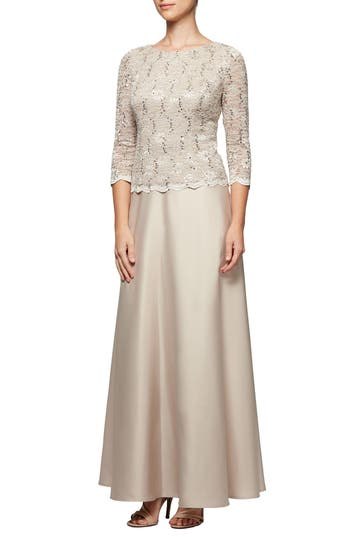 Alex Evenings Mock Two-Piece Gown, Beige