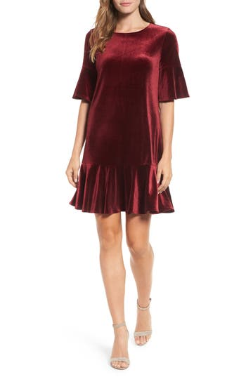 Petite Halogen Ruffle Trim Velvet Dress, Burgundy