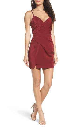 La Femme Gathered Waist Strappy Body Con Dress, Red