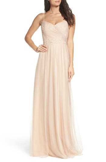 Monique Lhuillier Bridesmaids Brooks Tulle Gown, Beige