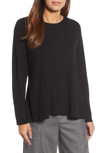 Eileen Fisher Side Slit Merino Wool Sweater, Black