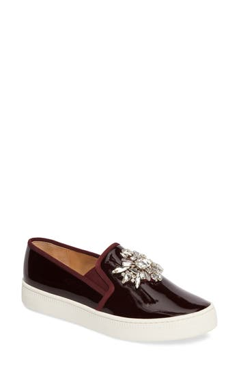 Badgley Mischka Barre Crystal Embellished Slip-On Sneaker, Burgundy