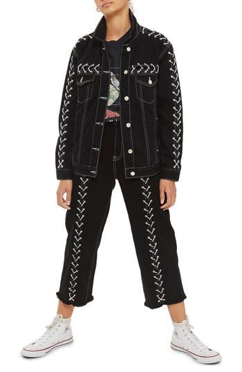 Women's Topshop Lace-Up Denim Jacket, Size 2 US (fits like 0) - Black