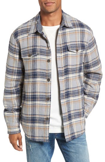 Men's True Grit Summit Plaid Faux Shearling Lined Shirt Jacket, Size Small - Blue
