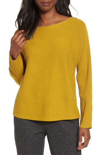 Eileen Fisher Boxy Ribbed Wool Sweater, Yellow