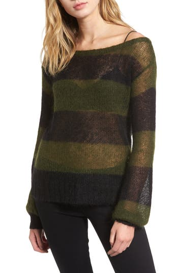 Women's Pam & Gela Sheer Stripe Sweater, Size Petite - Black