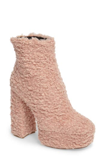 Shellys London Forrest Faux Shearlng Platform Bootie Pink