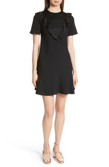 Red Valentino Envers Satin & Crepe Ruffle Dress, 8 IT - Black
