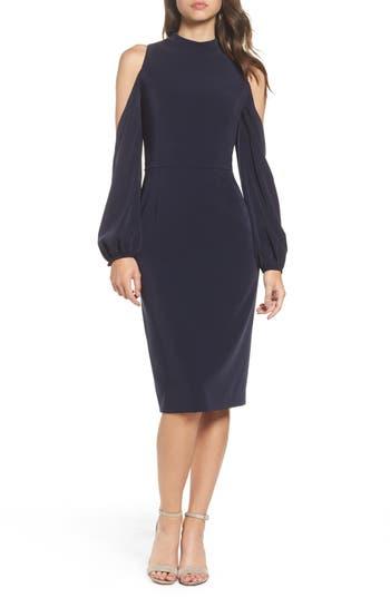 Maggy London Cold Shoulder Midi Dress, Blue