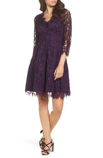 Eliza J Lace Fit & Flare Dress, Purple