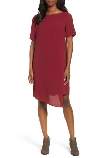 Petite Eileen Fisher Asymmetrical Silk Shift Dress, Red