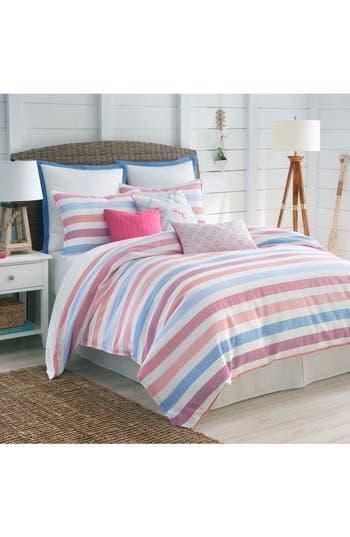 Southern Tide Long Bay Stripe Comforter, Sham & Bed Skirt Set, Size Twin - Pink