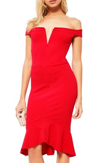 Missguided Bardot Off The Shoulder Sheath Dress, US / 6 UK - Red