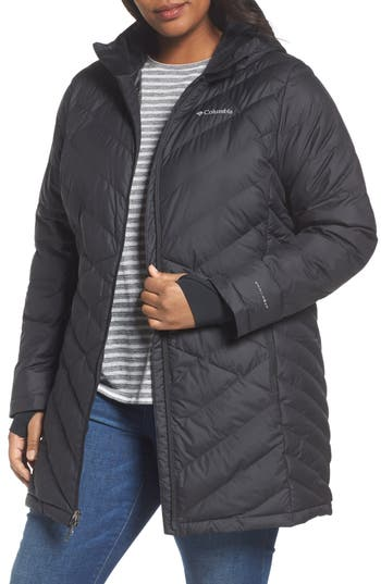Plus Size Columbia Heavenly Water Resistant Insulated Long Hooded Jacket, Black