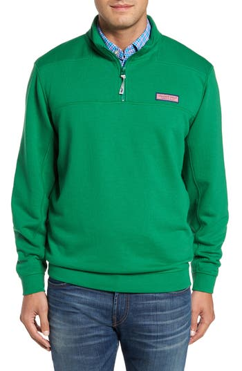 Men's Vineyard Vines Collegiate Shep Quarter Zip Pullover, Size Small - Green