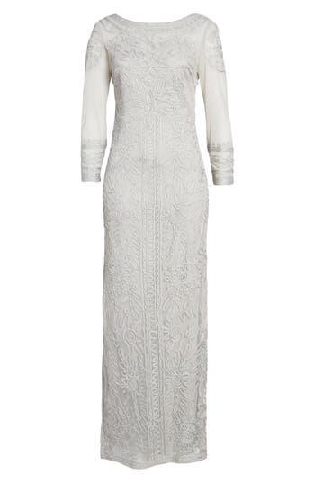 Js Collections Illusion Soutache Column Gown, Metallic