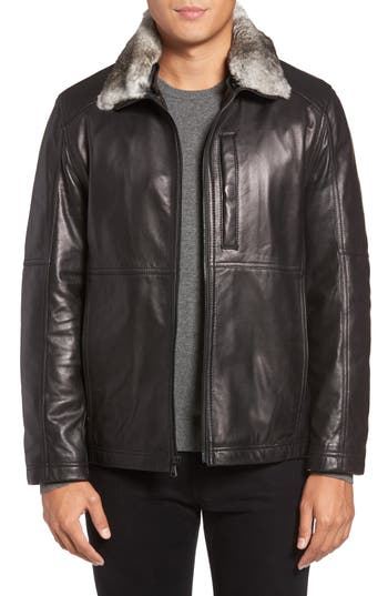 Men's Marc New York Lambskin Leather Jacket With Genuine Rabbit Fur Trim