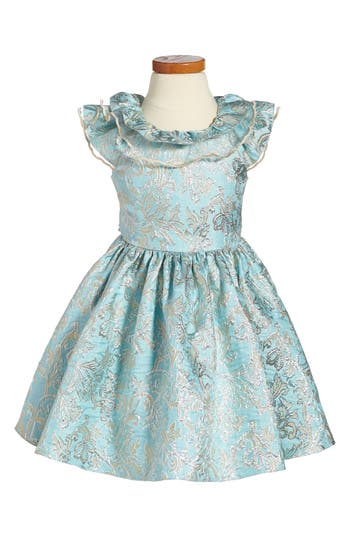 Girl's David Chales Ruffle Neck Brocade Dress