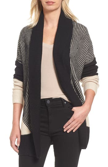 Petite Women's Caslon Colorblocked Ribbed Cardigan, Size XX-Small P - Black