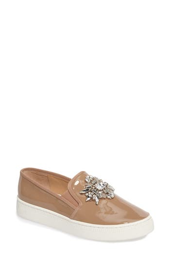 Badgley Mischka Barre Crystal Embellished Slip-On Sneaker, Beige