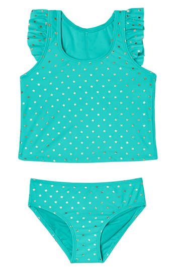 Girl's Hula Star Twinkle Star Two-Piece Tankini Swimsuit, Size 5 - Green