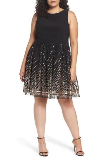 Plus Size Vince Camuto Sequin Fit & Flare Dress, Black