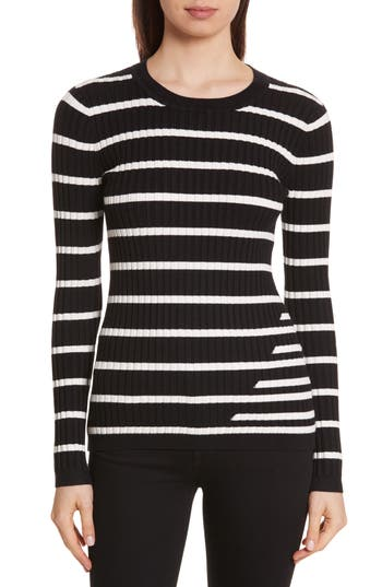 Women's T By Alexander Wang Rib Knit Intarsia Stripe Sweater, Size X-Small - Black