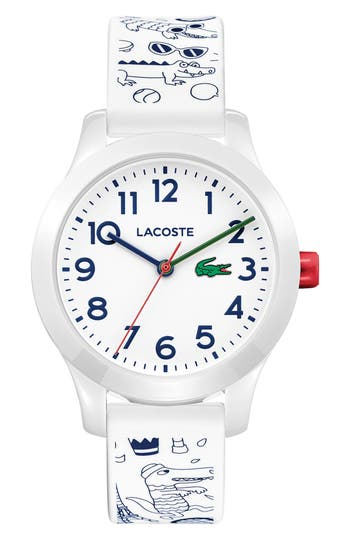 Women's Lacoste Kids 12.12 Print Silicone Strap Watch, 32Mm at NORDSTROM.com