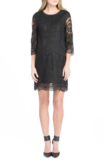 Lilac Clothing Lace Maternity Dress, Black