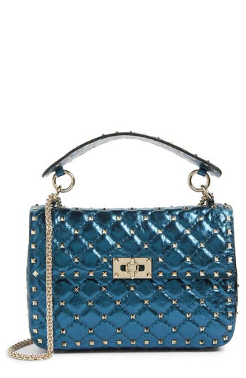 Valentino Garavani Medium Rockstud Spike Lambskin Shoulder Bag - Blue/green