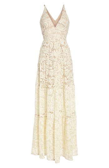 Dress The Population Melina Lace Fit & Flare Maxi Dress, White