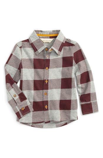 Infant Boy's Burt's Bees Baby Buffalo Check Organic Cotton Shirt