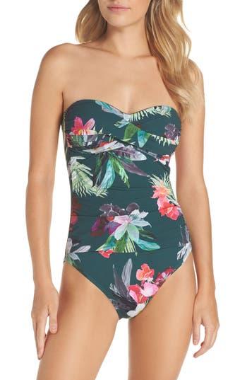 La Blanca Jungle Bandeau Floral Print One-Piece Swimsuit, Green