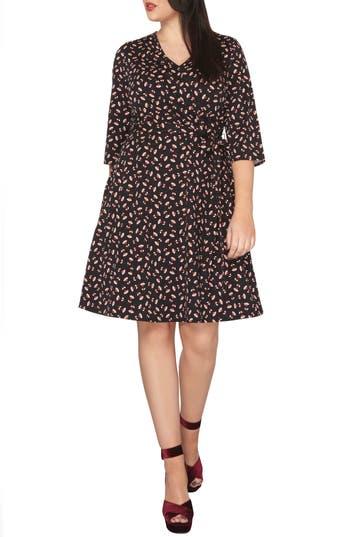 Plus Size Women's Dorothy Perkins Floral Wrap Dress, Size 14W US / 18 UK - Black