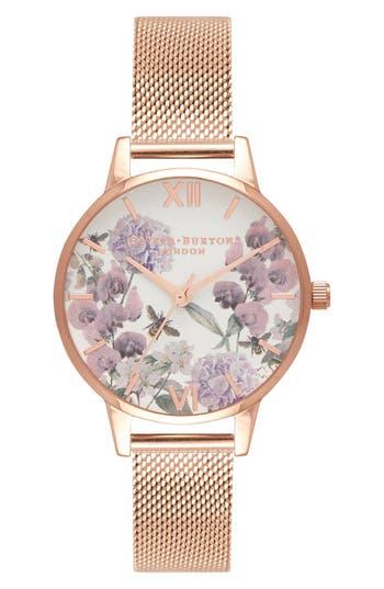 Women's Olivia Burton Enchanted Garden Bee Blooms Mesh Bracelet Watch, 30Mm