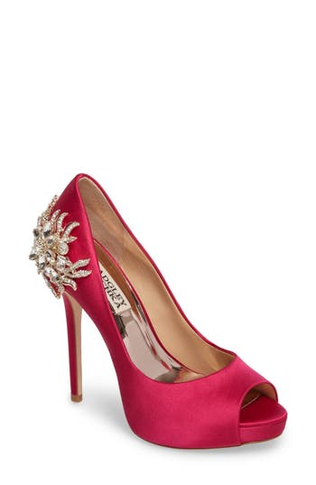 Badgley Mischka Marcia Embellished Peep Toe Pump- Pink