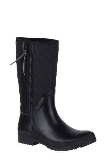 Sperry Walker Quilted Rain Boot, Black