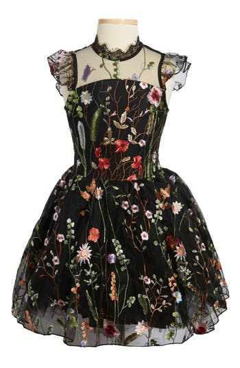 Girl's Miss Behave Charisse Embroidered Floral Dress