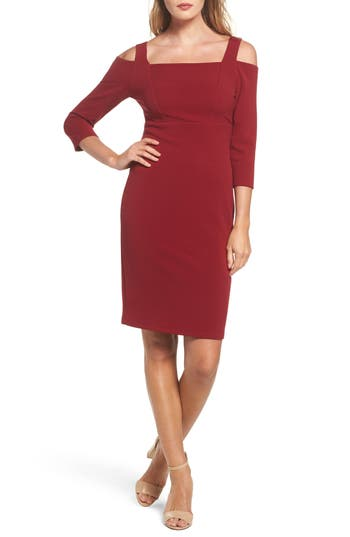 Adrianna Papell Cold Shoulder Sheath Dress, Red